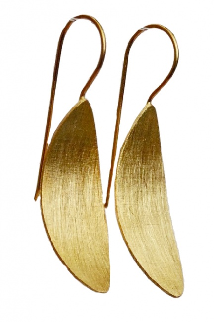 Brushed Gold Minimal Drop Earrings