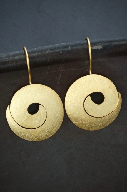 Brushed Gold Vermeil Swirl Drop Earrings