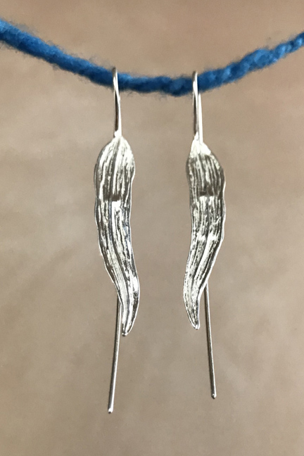 Silver Long Leaf Earrings
